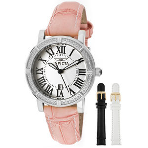 Invicta WildFlower Crystal Pink Watch W/2 Straps